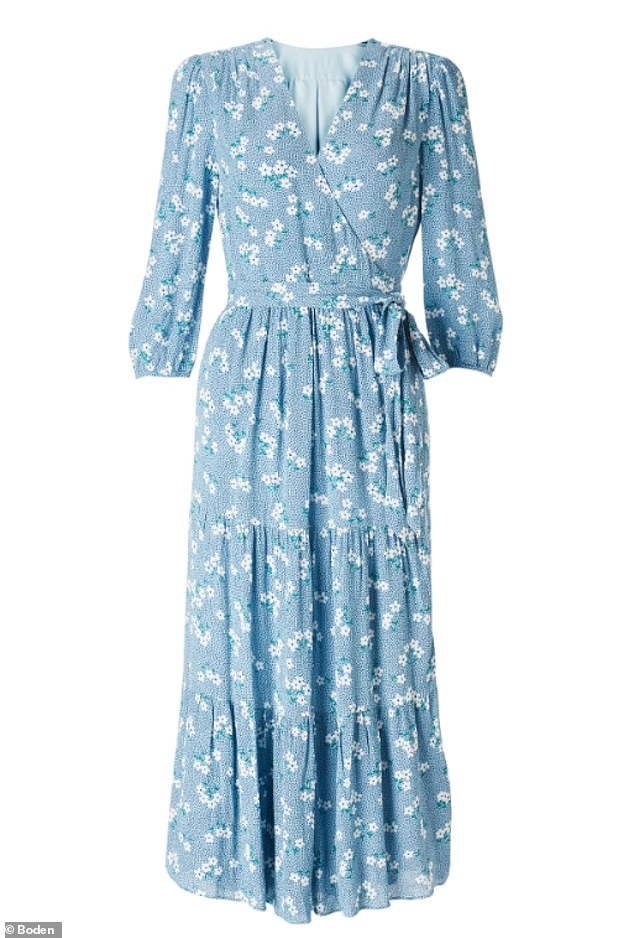 The Duchess opted for the pretty floral wrap dress for the virtual visit, which is described online as 'boho luxe' in style. The £60 dress quickly sold out on Boden