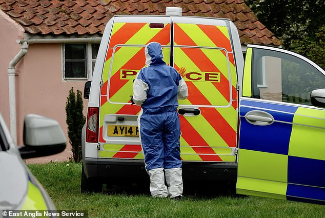 Her husband, Peter Hartshorne-Jones, 51, admitted to manslaughter by diminished responsibility but NOT murder of his wife as he has a 'mental health condition'. Pictured,Police were called to the farmhouse in Barham at around 4.45am on May 3