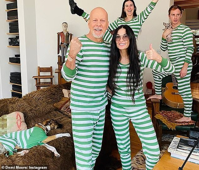 Family fun: Bruce was locked up with his ex-wife Demi Moore, 57 (photo) and three older children Rumer, 31, Scout, 28 and Tallulah, 26, while Emma stayed in Los Angeles due to a medical emergency