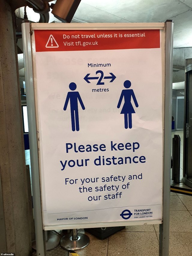 Commuters are being told to remain two metres apart from one another when travelling on the Underground