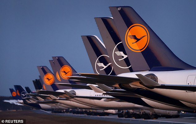 A March 2020 file photo shows planes of German carrier Lufthansa parked on a closed runway at the airport in Frankfurt, Germany during the coronavirus pandemic
