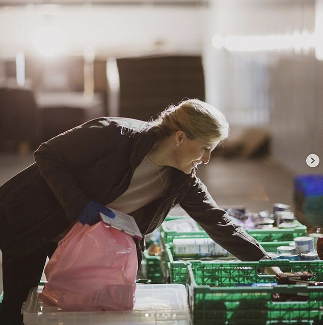Seward's comments come a few days after her appearance, the countess volunteered in her community amid the coronavirus pandemic (photo, working at a food bank last week)