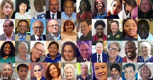 Missing heroes: in the photo are the faces of some of the frontline health and social services workers who died from the coronavirus during the pandemic