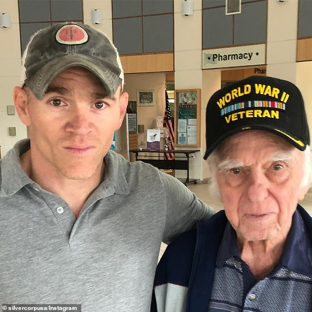 White, who lives in Colorado Springs, described the last time he saw Goudreau before he embarked on his unlikely scheme to defeat the Venezuelan army with a rag-tag group of 300 poorly-fed and barely-trained rebels. He is pictured posing with a World War II veteran in an image from Instagram