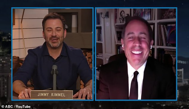 Heard: Kimmel asked Seinfeld if he's seen the documentary yet, and the comedian said he hasn't yet, but he had, 'heard about this part,' leading to Kimmel showing him the clip