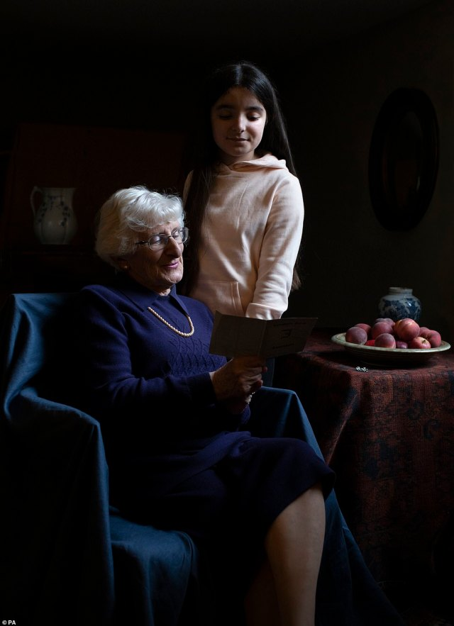 Kate invited Steven Frank, 84 and Yvonne Bernstein, 82, pictured, into her home that she shares with Prince William and her family in order to create the images which were inspired by Dutch artist Vermeer