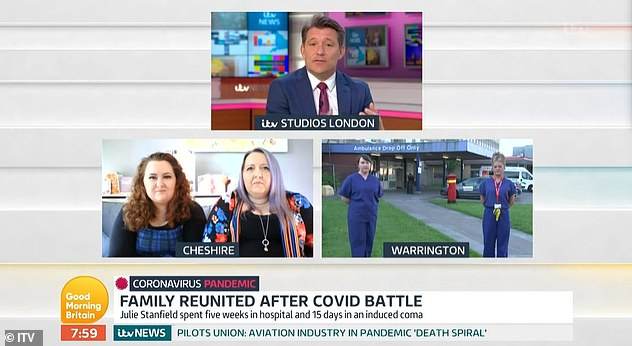 Opening: Speaking to COVID-19 survivor Julie Stanfield, her daughter Gabrielle and the NHS staff who saved her life, Ben admitted that her co-host had found some comfort in calling Derek