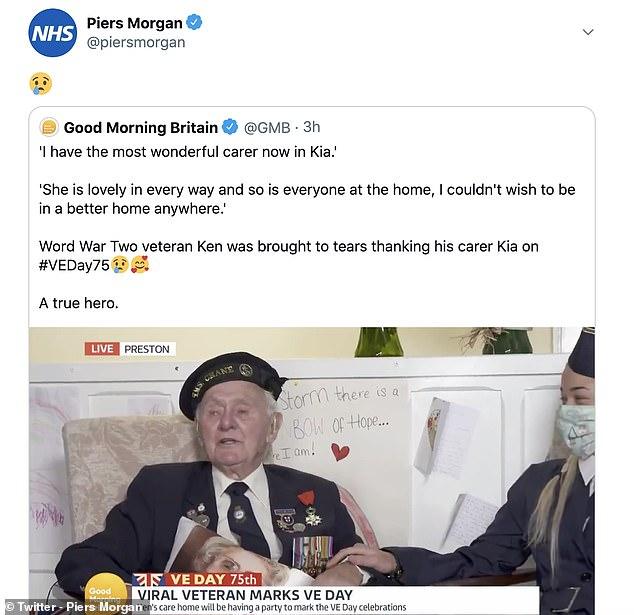 Piers Morgan Shares Crying Emoji After Veteran Ken Benbow 94 Cried On Gmb Fr24 News English