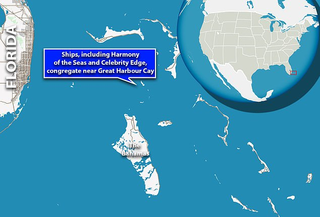 Three groups of cruise ships, with 15 in total, are grouped off Coco Cay and Great Stirrup Cay in the Bahamas