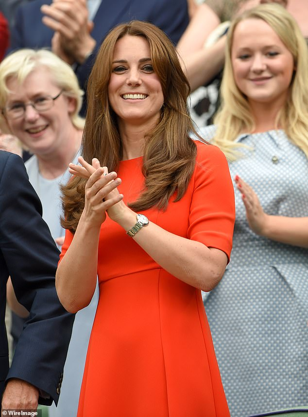 LK Bennett, a favourite of Kate Middleton, is among some of Britain's best-known clothing retailers who have set up shop on eBay. Pictured: Kate, 38, in a £250 elegant scarlet Cayla gown from LK Bennett which she first wore to the Wimbledon Tennis Championships in 2015 (shown) and has since recycled