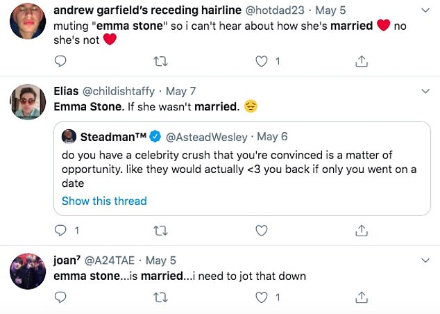 Reaction: Enthusiastic fans went on Twitter to speculate that Emma and Dave were married after noticing the ring on her finger during the interview