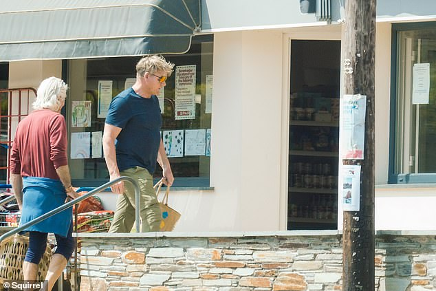 Food purchases: he was spotted heading to a local butcher and deli when he left town near his Cornwall home