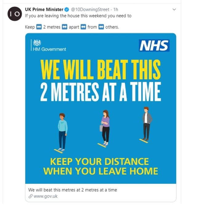 Number 10 released a new graphic urging people to keep 2m (6ft 6in) apart
