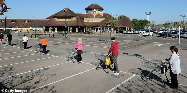Nearly 2,000 Britons have signed up for Visualping, which was developed by engineers in Canada, to receive alerts when Tesco, Ocado, Morrisons and Waitrose update their delivery times. Pictured: shoppers line up using safety distance measures at the Waitrose supermarket on April 22, 2020 in Rushden