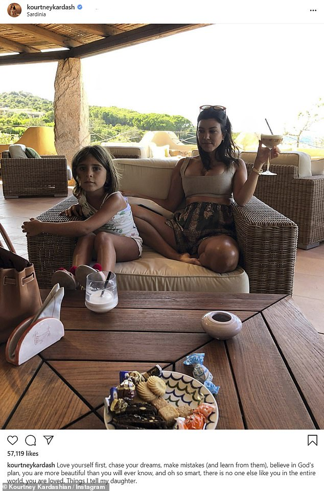 Meanwhile: Kourtney was quarantined with their three children, and during the week that Disick went in and out of rehab, she posted several old photos of lavish vacations in Costa Rica and Italy - including one in which she was seen holding a cocktail glass