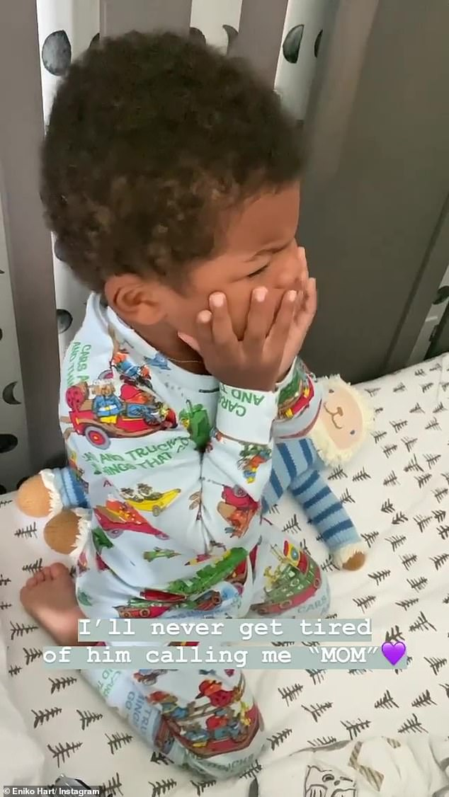 Son: On his Instagram story, Eniko savored the joys of his own personal experience with motherhood by capturing Kenzo and his `` soft voice '' on camera