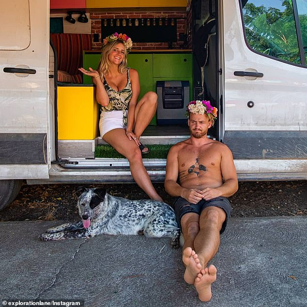Chris, Mietta and their dog Jackson managed to find a ranch owned by a local family to park the van they live in - a renovated Ford transit