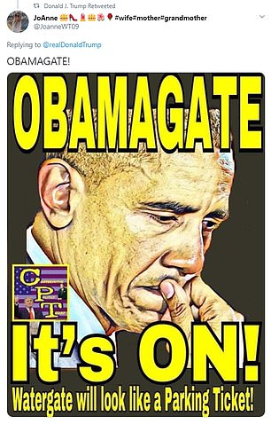 Trump retweeted this image on Sunday evening, writing: 'OBAMAGATE'