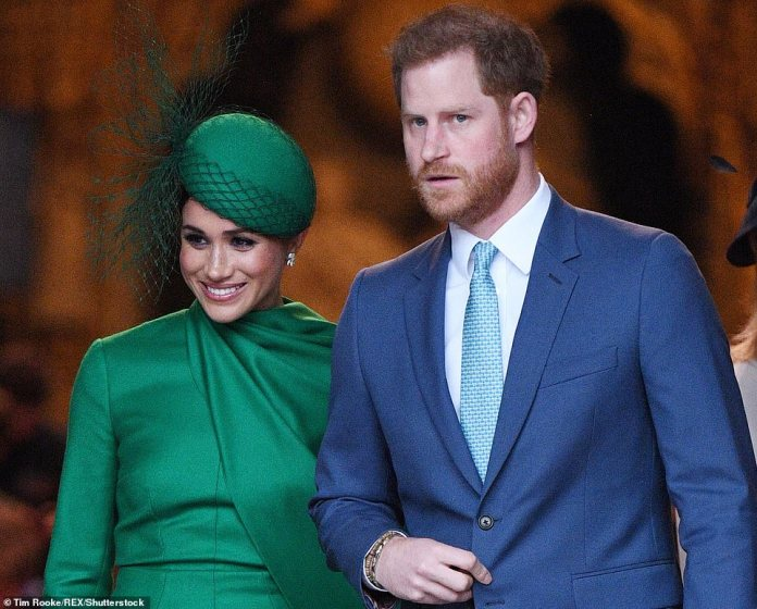 Meghan Markle and Prince Harry are pictured in London in March as they made final engagements before the move