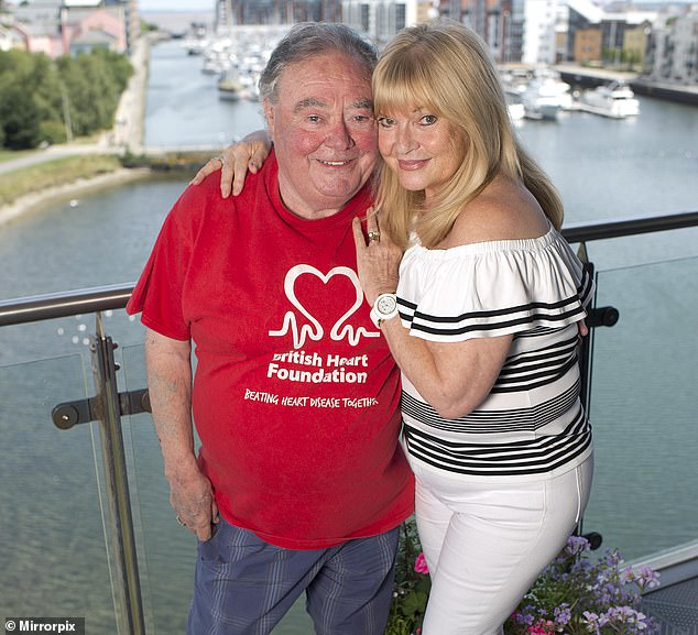 Comedian Eddie Large (pictured with his wife Patsy in Portishead near Bristol) died at the age of 78 after contracting Covid-19 at Southmead Hospital in Bristol