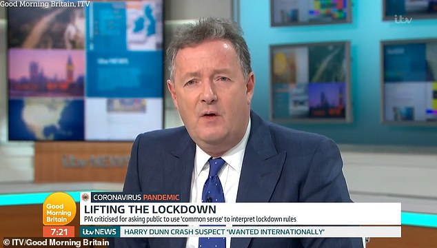 Fury: Piers Morgan criticized Miriam Margolyes for saying she wanted Prime Minister Boris Johnson to die from coronavirus