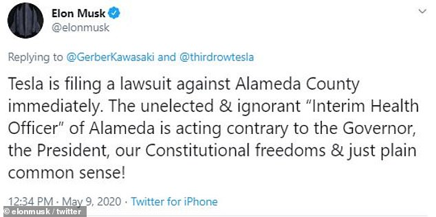 Musk announced Tesla's legal action against Alameda County in a tweet on Saturday