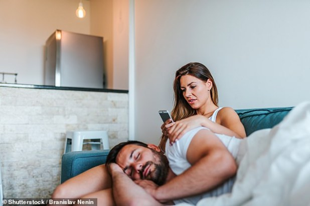 As a mobile device is the number one way of communicating it makes sense that philanderers would try to hide incoming texts or calls from their spouse (stock image)