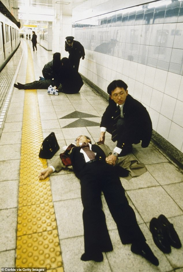 On the morning of March 20, 1995, members of the Aum Supreme Truth sect released the nerve agent sarin on five train stations in Tokyo, then the busiest subway network in the world. The attack (pictured) killed 12 commuters and poisoned 5,500, seriously injuring more than 50