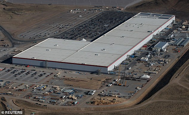 Meanwhile, Tesla announced its intention to fully reopen its battery-making Gigafactory in Reno, Nevada, (pictured) in the coming days