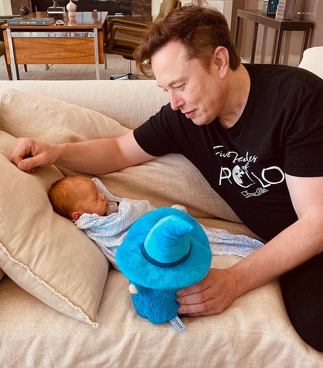 Doting dad: Grimes and partner Elon Musk welcomed their first child to the world on May 11