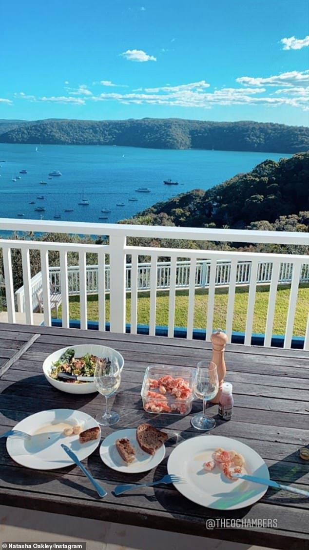 Romantic: Earlier this month, the blonde beauty shared a photo to Instagram of herself enjoying a romantic lunch date and tagged Theo in the post. In the photo, wine glasses and a meal are pictured on a table and the ocean is visible in the background