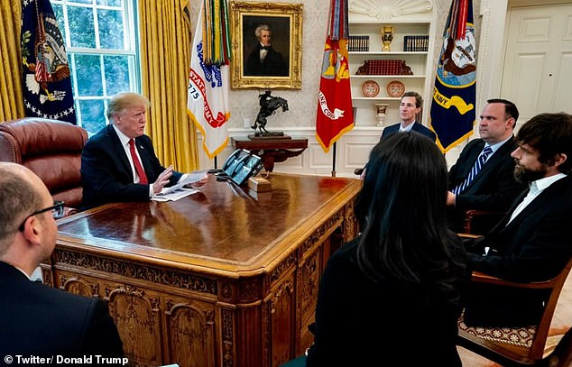 A picture shared by Donald Trump on Twitter when he met with tech chiefs including Twitter CEO Jack Dorsey, pictured to the far right. He slammed the social media platforms on Saturday