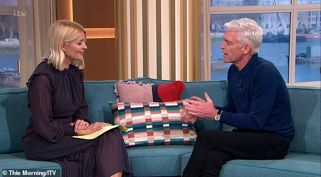 Support: In a choreographed follow-up, he took his place on the This Morning sofa besides co-host Holly Willoughby to further pour his heart out