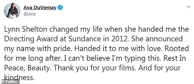 Respect from all around: Sheltonwas highly respected within the film community, as her contemporaries, decorated directors in their own right, also took time to share their feelings