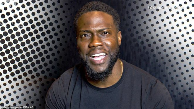 Class clown: Kevin Hart gave a short comedic speech: 'As you can probably imagine, I was one of the most popular kids in school. That's a lie! I wasn't, but I was definitely one of the funniest'