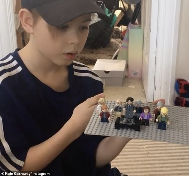 Kind: Kate went to Instagram to share a video of her 10-year-old son Billy showing a lego version of his family with Derek in the spotlight, so that his father had him at the hospital bedside