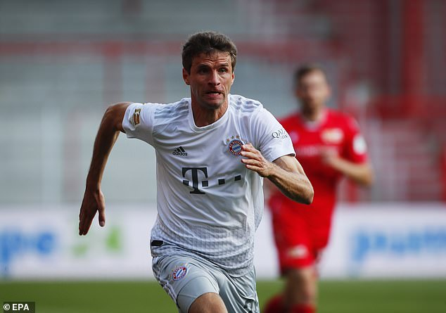 Thomas Muller thought he had opened the scoring after 18 minutes, but was ruled offiside