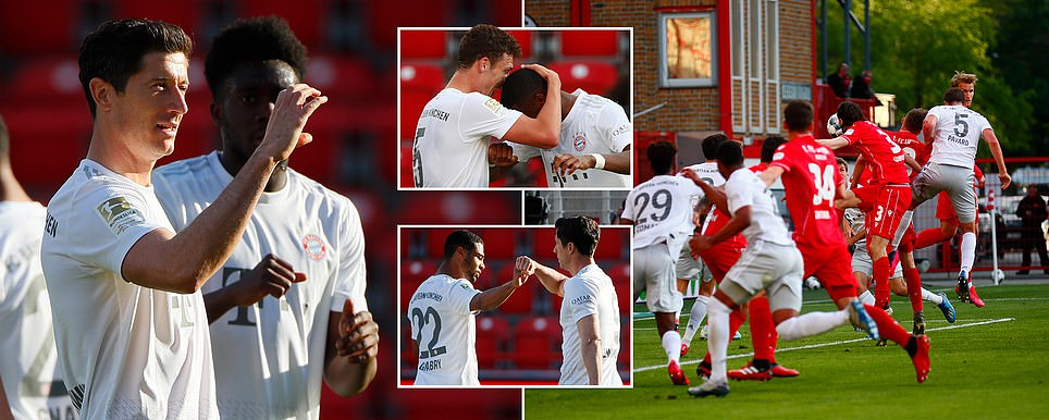 Robert Lewandowski celebrates in silence as Bayern Munich return with 2-0 win over Union