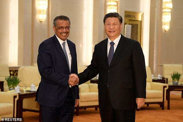 The WHO is braced for heavy criticism from the US, with Donald Trump having accused it of a 'China centric' approach to the pandemic and frozen funding. Pictured Tedros Adhanom and President Xi of China, who is addressing the assembly, shake hands in January