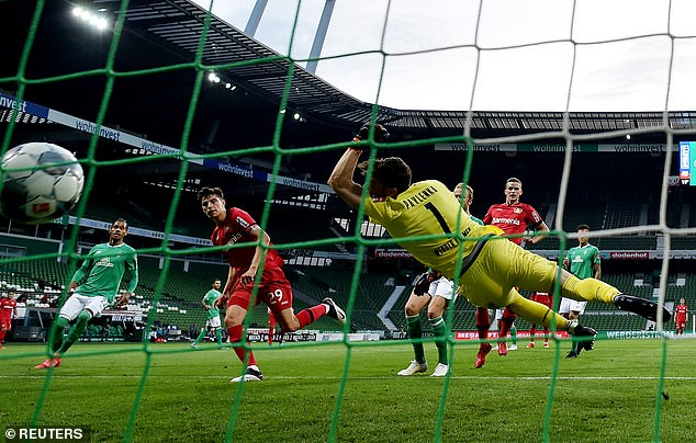 He restored Leverkusen's lead with an unmarked header moments after being pegged back