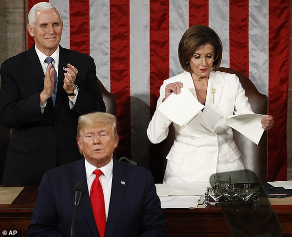 House Speaker Nancy Pelosi ripped apart her copy of President Trump's State of the Union address after he finished speaking