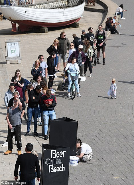 There were long queues for a beer in Brighton on Sunday