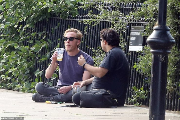 Actor Laurence Fox enjoyed a takeaway pint in Primrose Hill, London on Monday as landlords find ways around lockdown rules