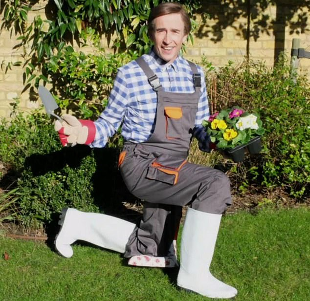 Steve Coogan, 54, as Alan Partridge, striking a comic pose by a flower bed. The actor's mansion in the south of England is worth £4m and boasts a swimming pool and tennis court