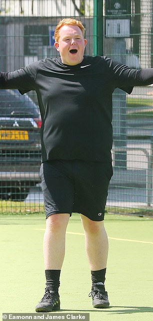 Then: Colson pictured at a five-a-side football match in 2018