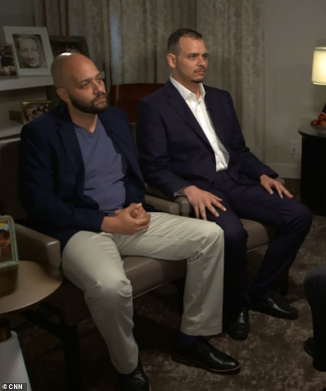 We the sons of martyr Jamal Khashoggi announce we forgive and pardon those who killed our father,' Salah, right, and Abdullah Khashoggi, left in 2018, said on Twitter