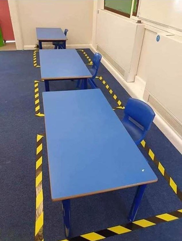 This is how social distanced desks will look atHolywell Village First School in Northumberland