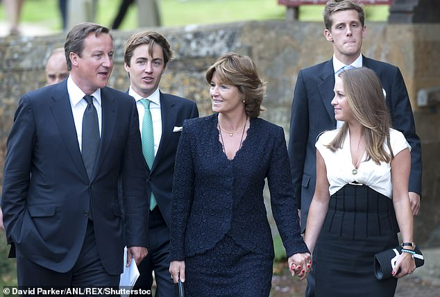 Well-connected: Nikki was married to Christopher Shale, a senior Tory and a close friend of former Prime Minister David Cameron, before his death at Glastonbury Festival (pictured, Edo with Nikki and David Cameron in 2011 after the memorial service)