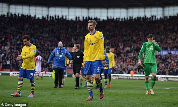 The Gunners lost at Stoke six times in league and cup during Wenger's time in charge