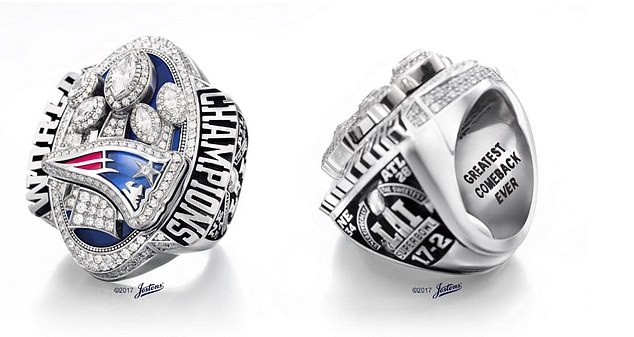 The ring contains 283 total diamonds – 278 round diamonds and five marquise-cut diamonds, according to the All In Challenge Website. One inner inscriptions reads, 'Greatest Comeback Ever.' Another quotes Kraft following the Patriots' first title in February of 2002, four months after the September 11 terrorist attacks: ' We Are All Patriots 2-3-02'